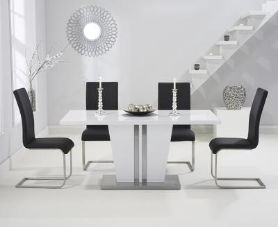 Mark Harris Vigo White High Gloss 160cm Dining Set with 4 Black Malibu Dining Chairs