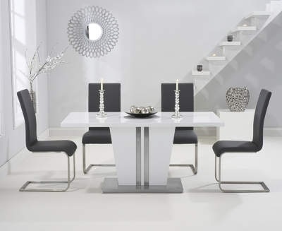 Mark Harris Vigo White High Gloss 160cm Dining Table with 4 Grey Malibu Chairs