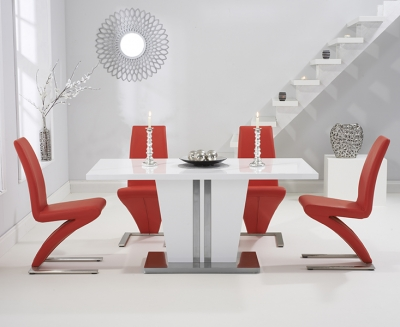 Mark Harris Vigo White High Gloss 160cm Dining Table with 4 Red Hereford Chairs