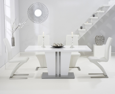 Mark Harris Vigo White High Gloss 160cm Dining Table with 4 White Hereford Chairs