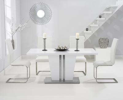 Mark Harris Vigo White High Gloss 160cm Dining Table with 4 White Malibu Chairs