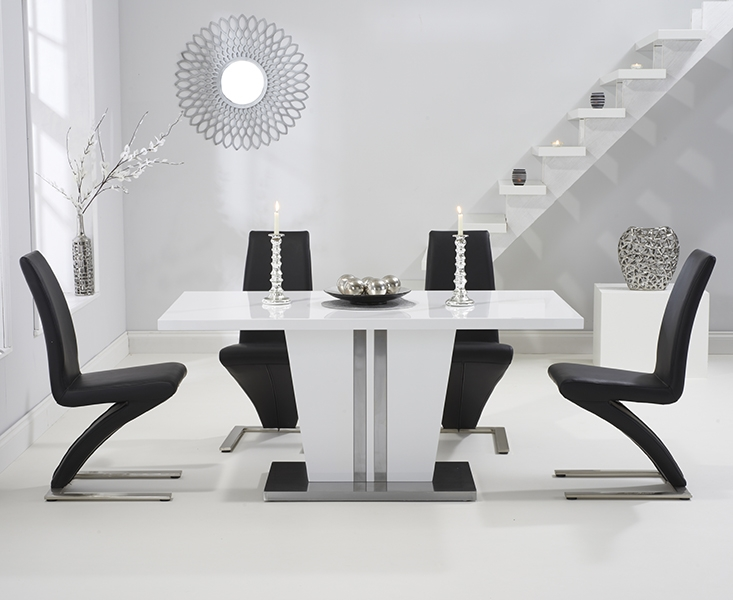 Mark Harris Vigo White High Gloss 160cm Dining Set with 4 Black Hereford Dining Chairs