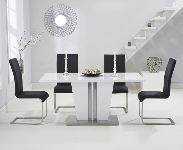 Mark Harris Vigo White High Gloss 160cm Dining Table with 4 Black Malibu Chairs