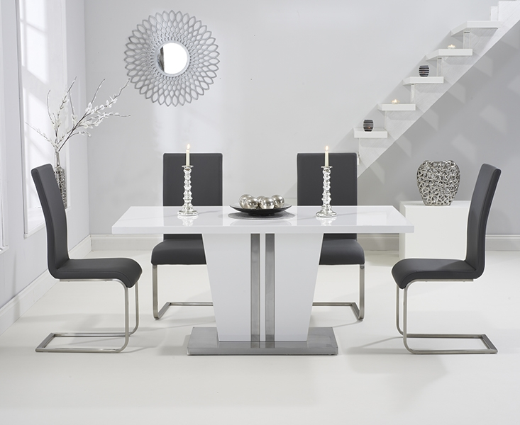 Mark Harris Vigo White High Gloss 160cm Dining Set with 4 Grey Malibu Dining Chairs