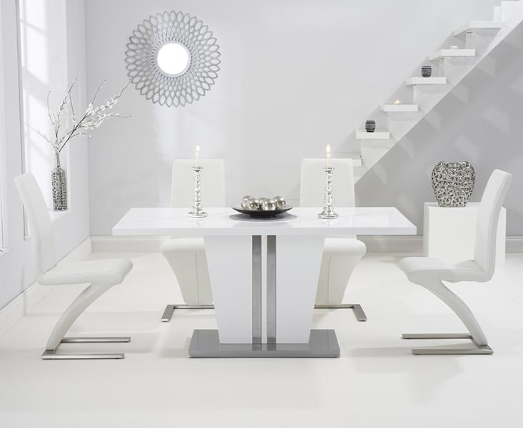 Mark Harris Vigo White High Gloss 160cm Dining Set with 4 White Hereford Dining Chairs