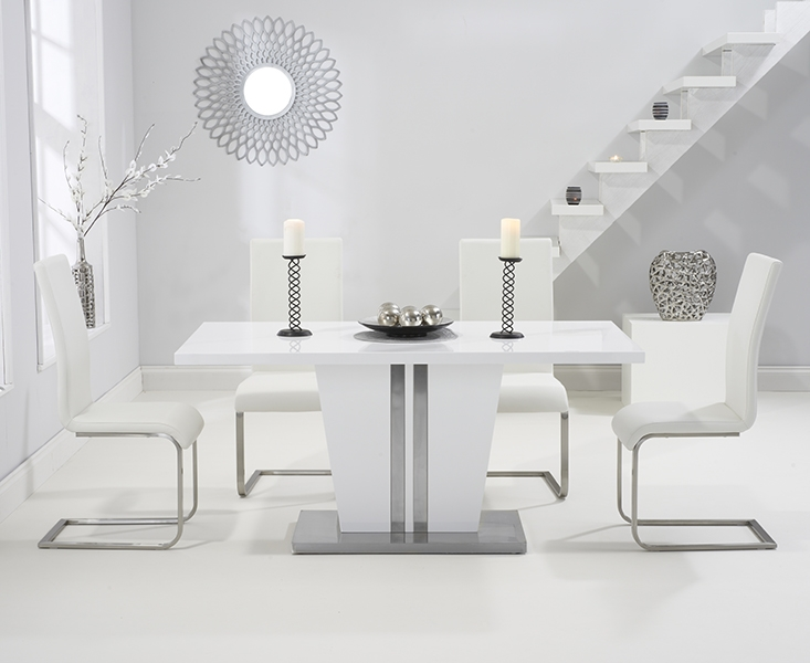 Mark Harris Vigo White High Gloss 160cm Dining Table with 4 White Malibu Chairs