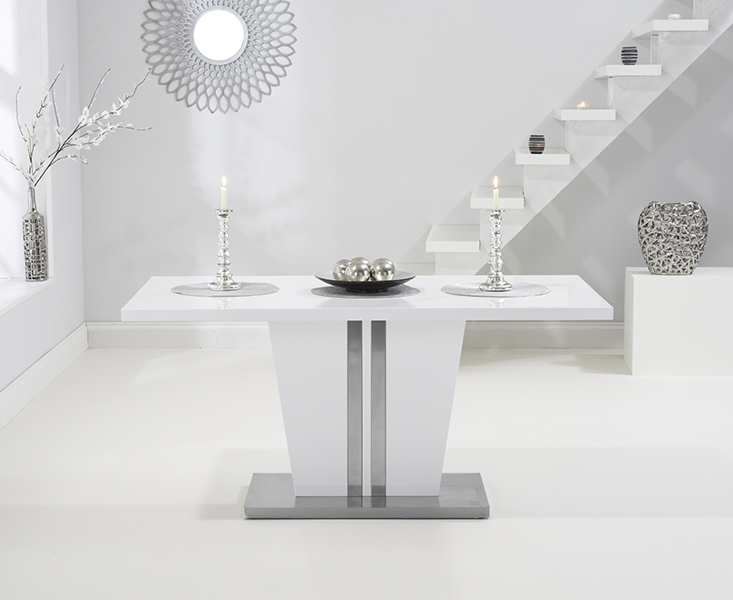 Mark Harris Vigo White High Gloss 160cm Dining Table