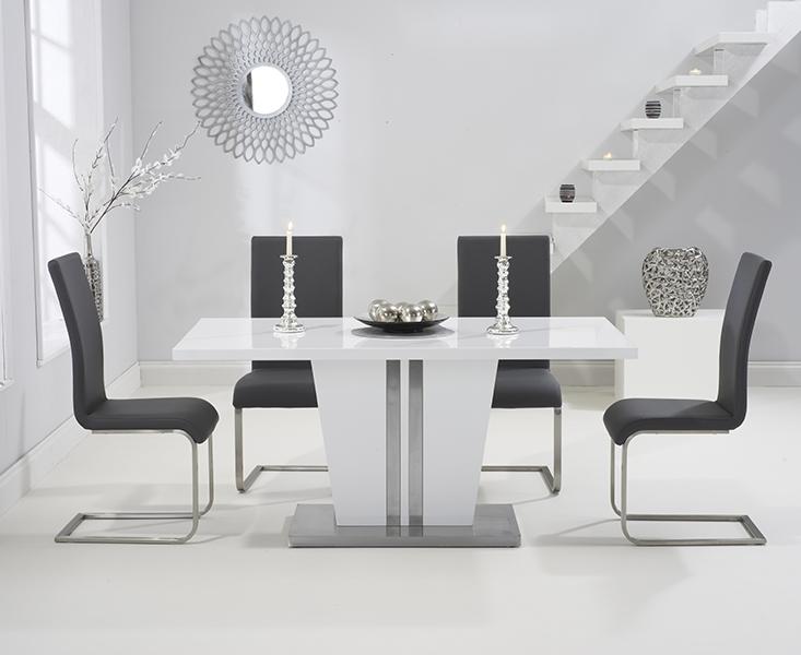 Mark Harris Vigo White High Gloss Dining Table - 160cm with 4 Grey Malibu Chair