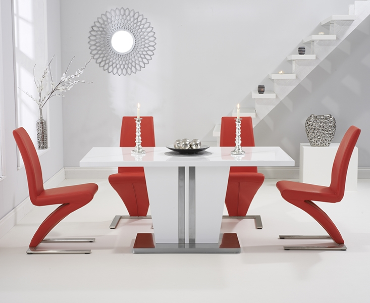 Mark Harris Vigo White High Gloss Dining Table - 160cm with 4 Red Hereford Chair
