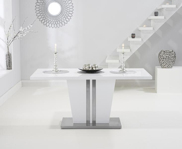 Mark Harris Vigo White High Gloss Dining Table - 160cm