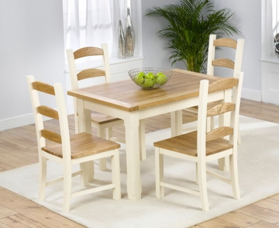 Mark Harris Windsor Painted Cream with Natural Ash Top 120cm Dining Set with 4 Dining Chairs