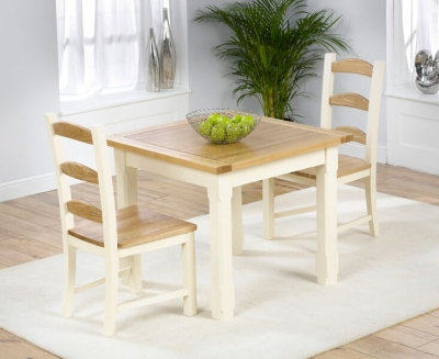 Mark Harris Windsor Painted Cream with Natural Ash Top 90cm Dining Set with 2 Dining Chairs