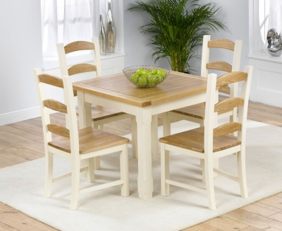 Mark Harris Windsor Painted Cream with Natural Ash Top 90cm Dining Set with 4 Dining Chairs