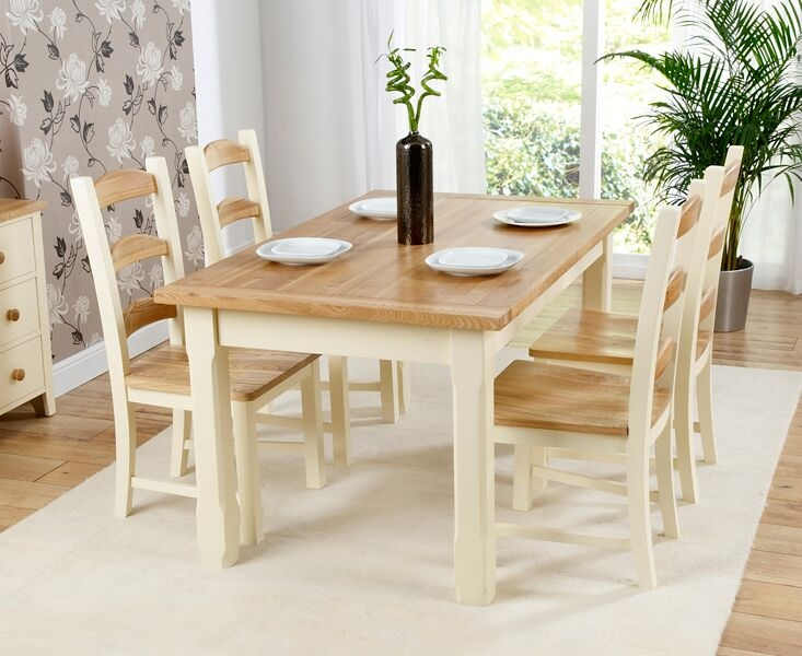Mark Harris Windsor Painted Cream with Natural Ash Top 150cm Dining Set with 4 Dining Chairs