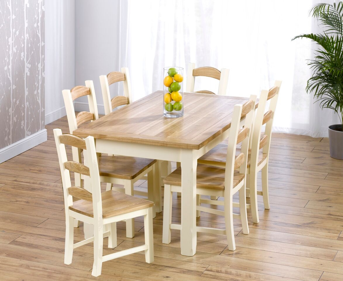 Mark Harris Windsor Painted Cream with Natural Ash Top 150cm Dining Set with 6 Dining Chairs