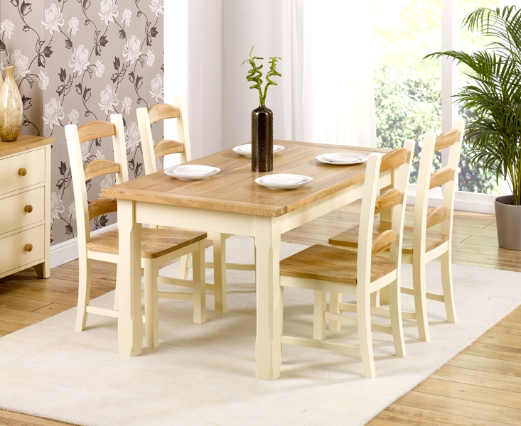 Mark Harris Windsor Painted Cream with Natural Ash Top Dining Set - 130cm with 4 Chairs