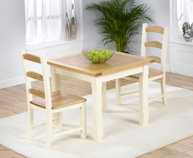 Mark Harris Windsor Painted Cream with Natural Ash Top Dining Set - 90cm with 2 Chairs