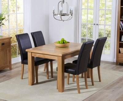 Mark Harris York Solid Oak 130cm Extending Dining Set with 4 Atlanta Brown Dining Chairs