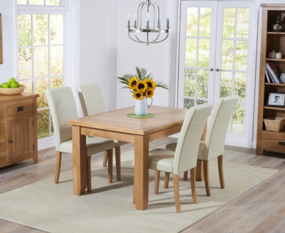 Mark Harris York Solid Oak 130cm Extending Dining Set with 4 Atlanta Cream Dining Chairs