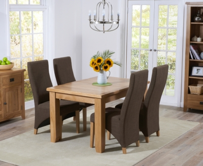 Mark Harris York Solid Oak 130cm Extending Dining Set with 4 Harley Cinnamon Fabric Dining Chairs