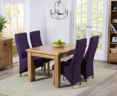 Mark Harris York Solid Oak 130cm Extending Dining Set with 4 Harley Plum Fabric Dining Chairs