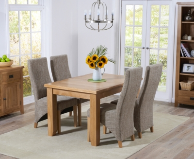 Mark Harris York Solid Oak 130cm Extending Dining Table with 4 Harley Tweed Fabric Chairs