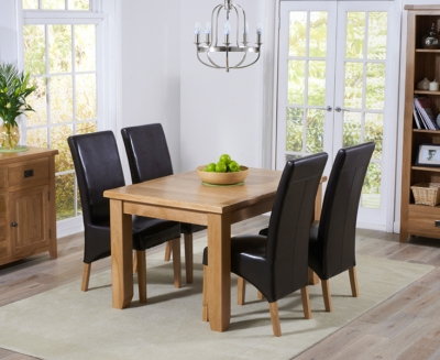 Mark Harris York Solid Oak 130cm Extending Dining Table with 4 Roma Brown Bycast Leather Chairs