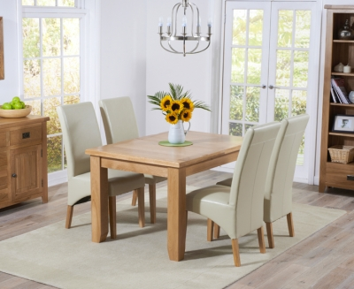 Mark Harris York Solid Oak 130cm Extending Dining Table with 4 Roma Cream Bycast Leather Chairs