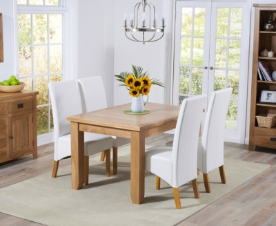 Mark Harris York Solid Oak 130cm Extending Dining Set with 4 Venice Ivory Faux Leather Dining Chairs