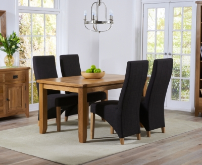 Mark Harris York Solid Oak 140cm Dining Set with 4 Harley Charcoal Fabric Dining Chairs