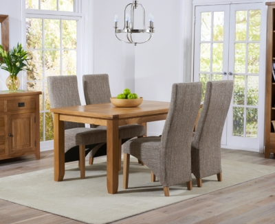 Mark Harris York Solid Oak 140cm Dining Table with 4 Harley Tweed Fabric Chairs