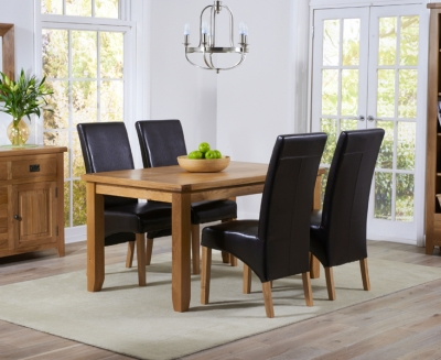 Mark Harris York Solid Oak 140cm Dining Set with 4 Roma Brown Dining Chairs