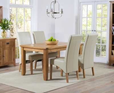 Mark Harris York Solid Oak 140cm Dining Set with 4 Roma Cream Dining Chairs