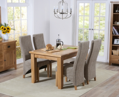 Mark Harris York Solid Oak Dining Set - 130cm Extending with 4 Harley Tweed Fabric Chairs