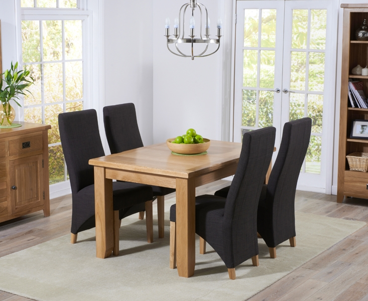 Mark Harris York Solid Oak 130cm Extending Dining Table with 4 Harley Charcoal Fabric Chairs