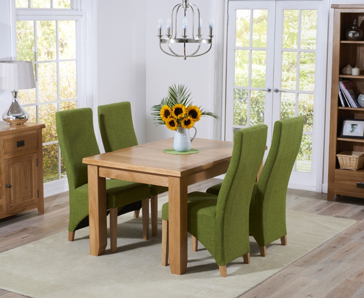 Mark Harris York Solid Oak 130cm Extending Dining Set with 4 Harley Lime Fabric Dining Chairs