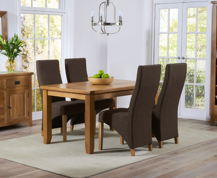 Mark Harris York Solid Oak 140cm Dining Table with 4 Harley Cinnamon Fabric Chairs