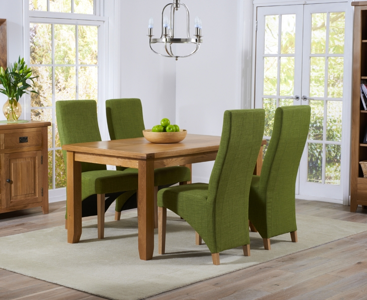 Mark Harris York Solid Oak 140cm Dining Set with 4 Harley Lime Fabric Dining Chairs