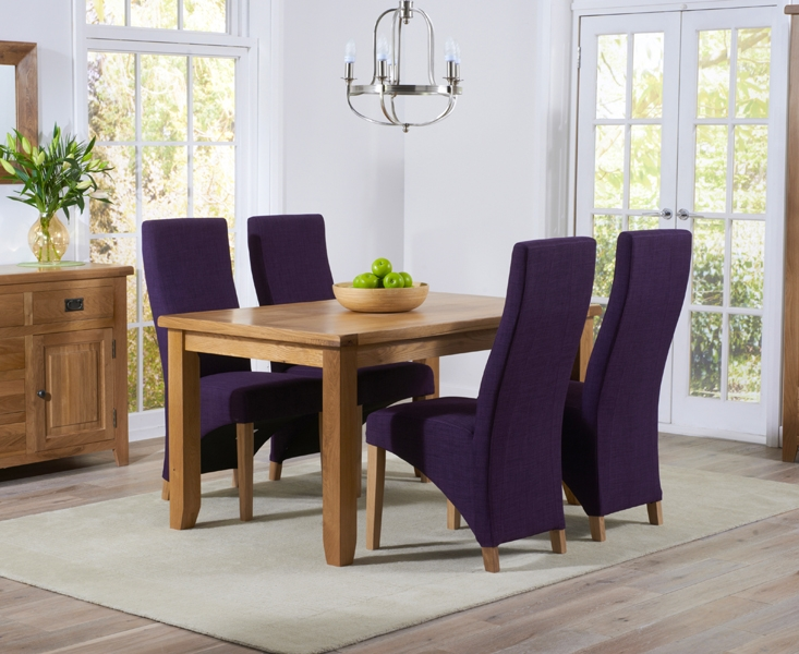 Mark Harris York Solid Oak 140cm Dining Table with 4 Harley Plum Fabric Chairs