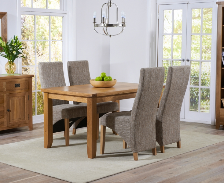 Mark Harris York Solid Oak 140cm Dining Set with 4 Harley Tweed Fabric Dining Chairs