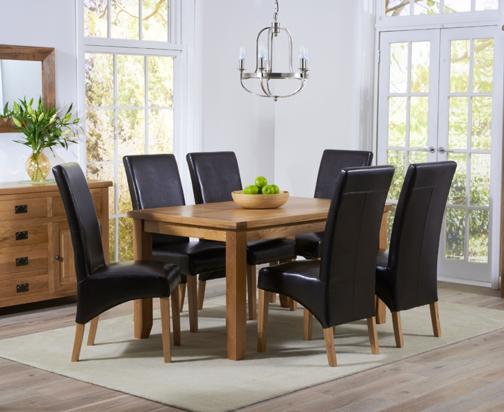 Mark Harris York Solid Oak 140cm Dining Table with 6 Roma Brown Bycast Leather Chairs