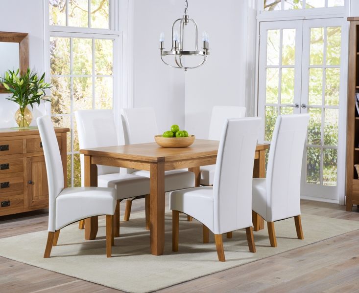Mark Harris York Solid Oak 140cm Dining Table with 6 Venice Ivory Faux Leather Chairs