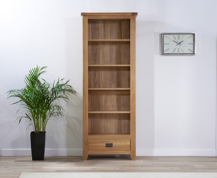 Mark Harris York Solid Oak Bookcase with 5 Shelves and 1 Drawer