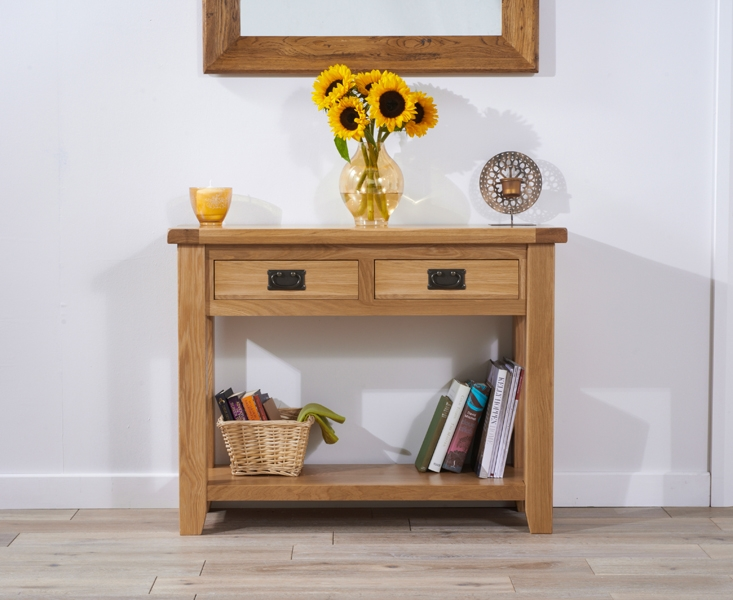 Mark Harris York Solid Oak Console Table - 2 Drawer