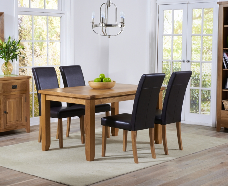 Mark Harris York Oak Dining Table and 4 Atlanta Brown Chairs