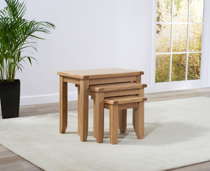 Mark Harris York Solid Oak Nest of Table (Set of 3)