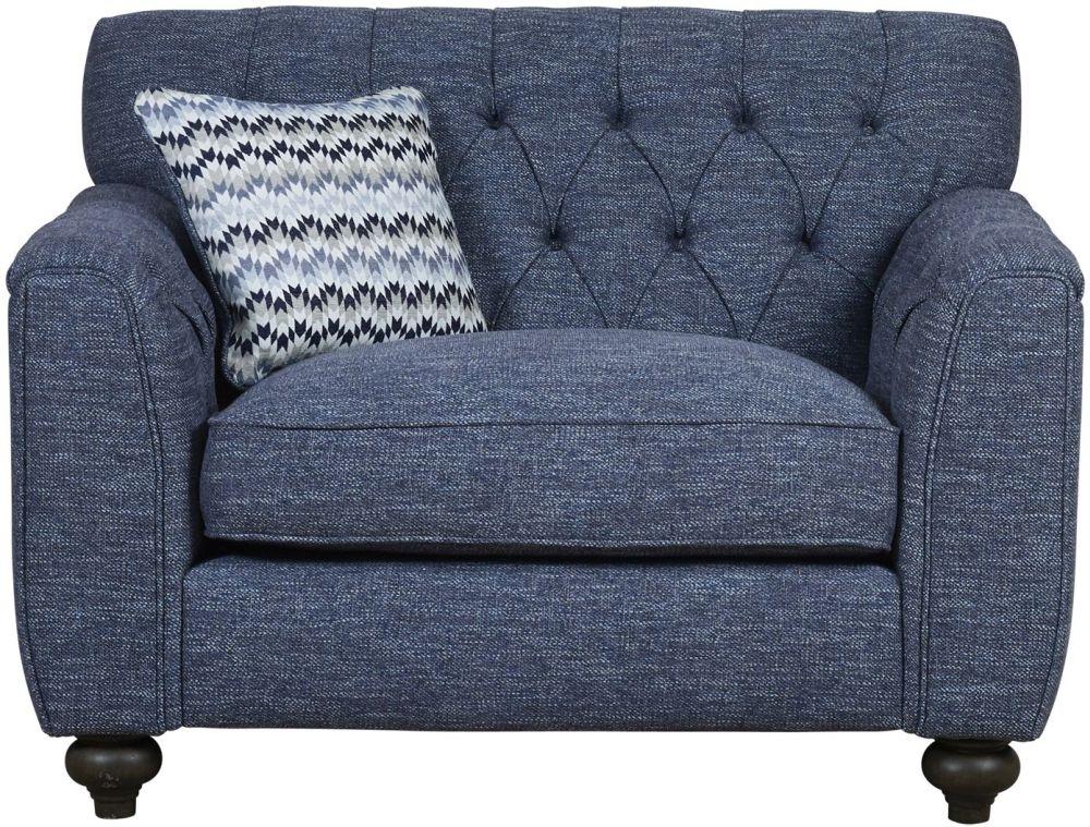Mark Webster Avante Blue Fabric Snuggler Chair