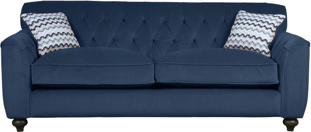 Mark Webster Avante Indigo Fabric Button Back Extra Large Sofa