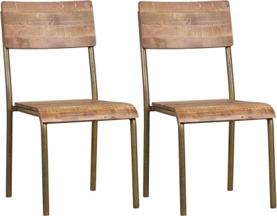 Mark Webster Barclay Pine School Dining Chair with Wooden Seat (Pair)
