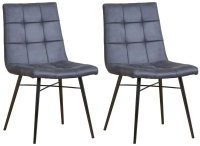 Mark Webster Grey Faux Leather Dining Chair with Black Powder Coated Legs (Pair)